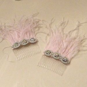 Ostrich Feather and Rhinestone Hair Combs